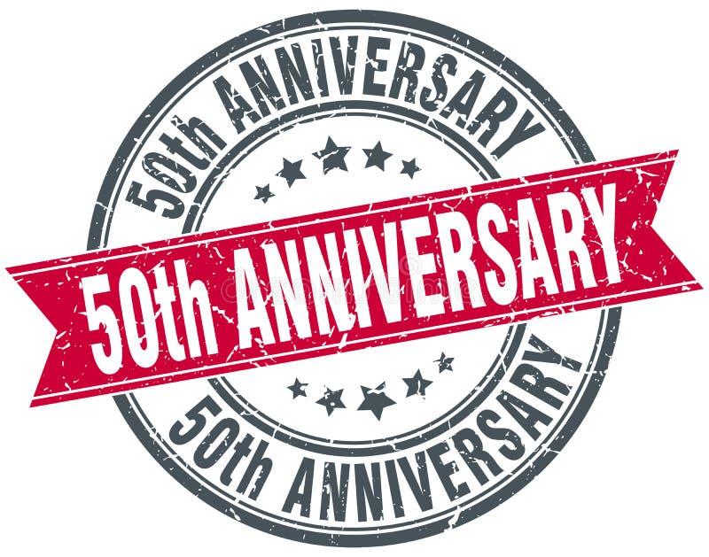 selo redondo do grunge do 50th aniversário ilustração do vetor