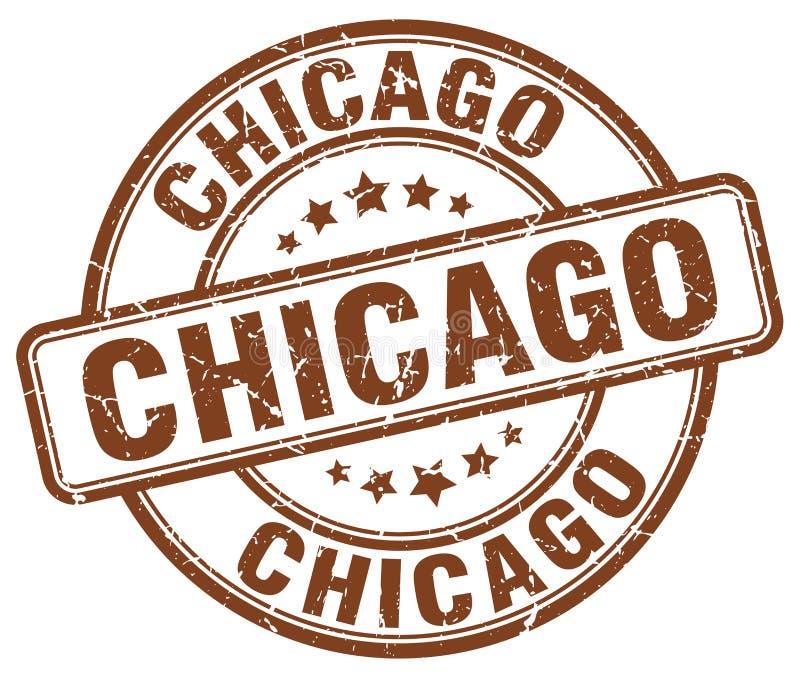 Selo redondo do vintage do grunge do marrom de Chicago ilustração stock