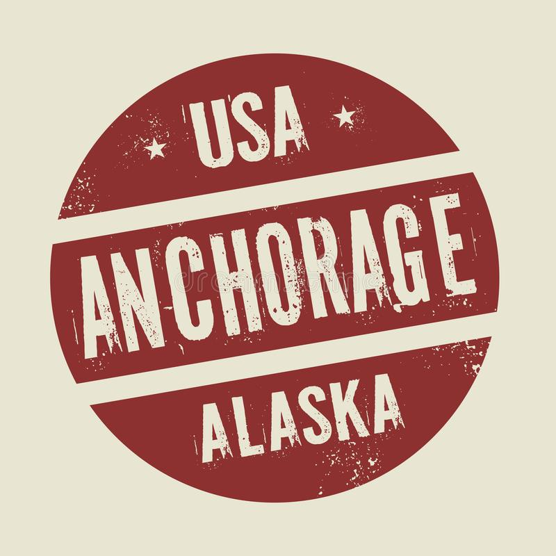 Selo redondo do vintage do Grunge com texto Anchorage, Alaska ilustração stock