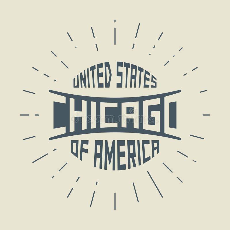 Selo redondo do vintage do Grunge com texto Chicago, Illinois ilustração do vetor