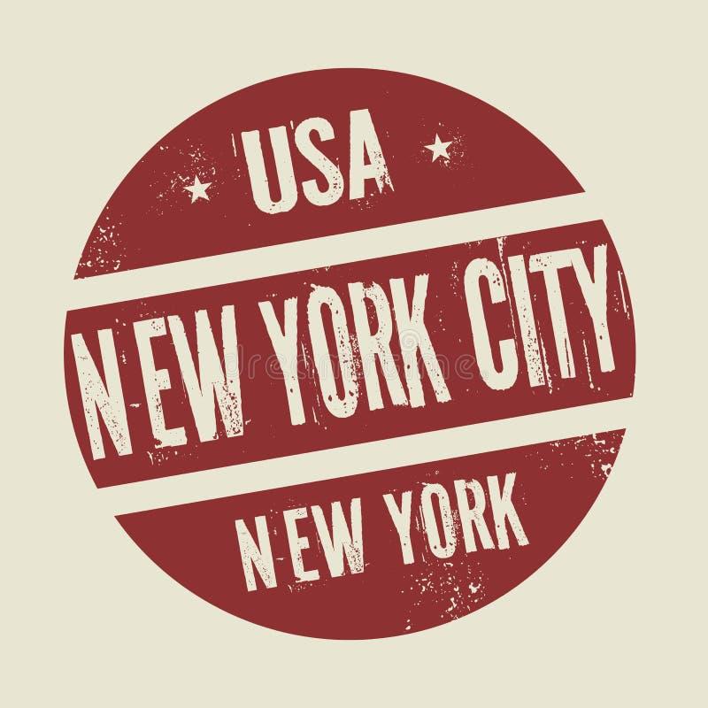 Selo redondo do vintage do Grunge com texto New York City, New York ilustração royalty free