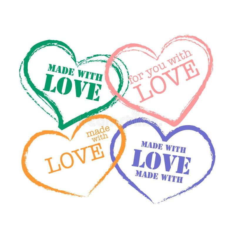 Selo retro do Grunge feito com amor ilustração royalty free