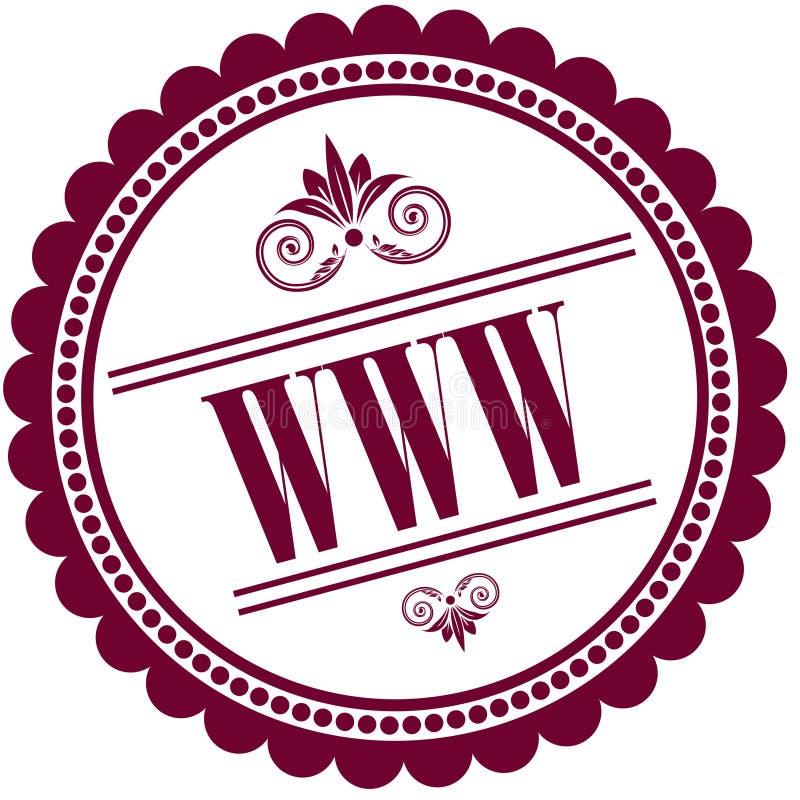 Selo roxo com WWW ilustração royalty free