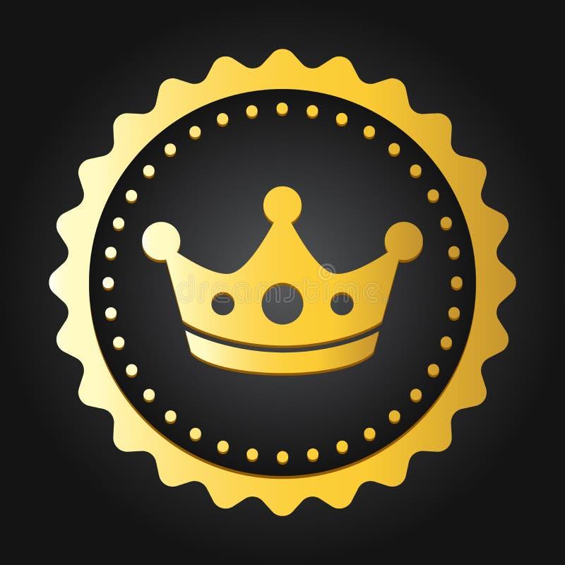 Selo superior da qualidade da coroa Etiqueta/crachá genuínos brilhantes dourados do comércio ilustração royalty free