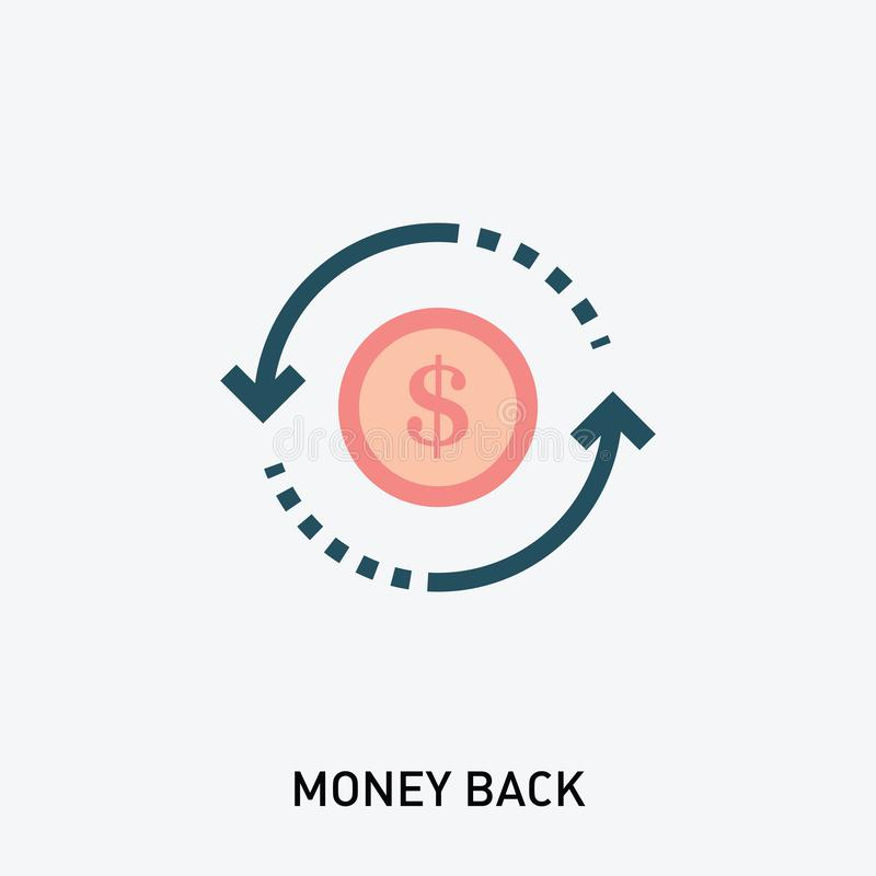 Selo traseiro do vetor do dinheiro Ícone do glyph do retorno sobre o investimento Ilustra??o do vetor no estilo liso moderno ilustração stock