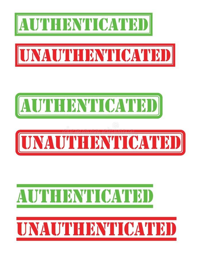 Selo unauthenticated autenticado imagens de stock