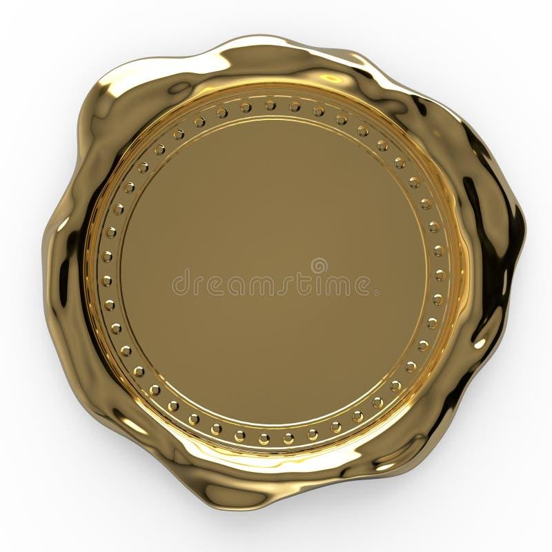 Selo vazio da cera do ouro isolado no fundo branco - rendição 3D imagem de stock royalty free