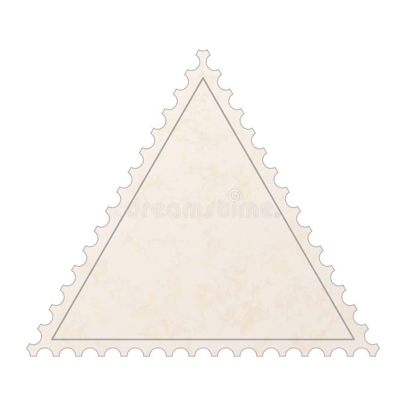 Selo vazio velho realístico do cargo na forma do triângulo com textura de papel isolado no branco ilustração stock