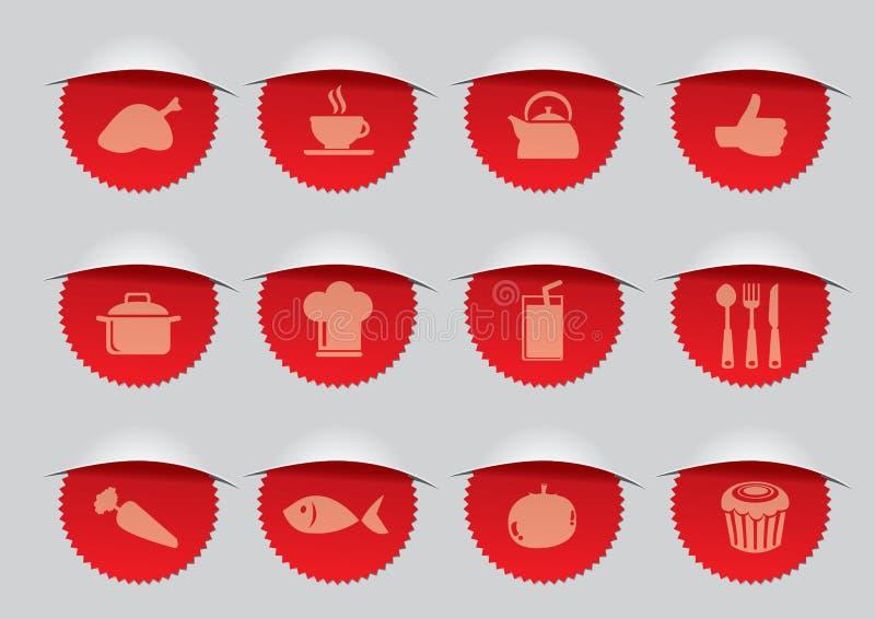 Selo vermelho com ilustração do vetor dos ícones de F&B ilustração do vetor