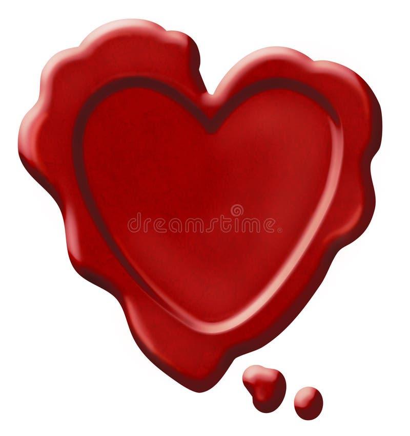 Selo vermelho da cera do coração ilustração do vetor