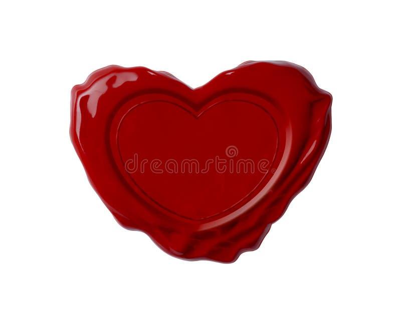 Selo vermelho da cera na forma do coração isolada fotografia de stock