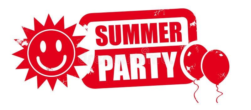 Selo vermelho do partido do verão ilustração stock
