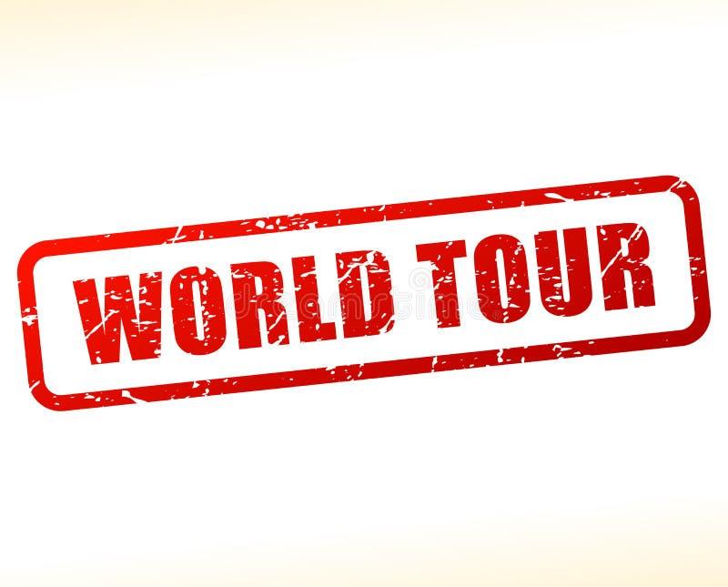 Selo vermelho do texto da excursão do mundo ilustração do vetor
