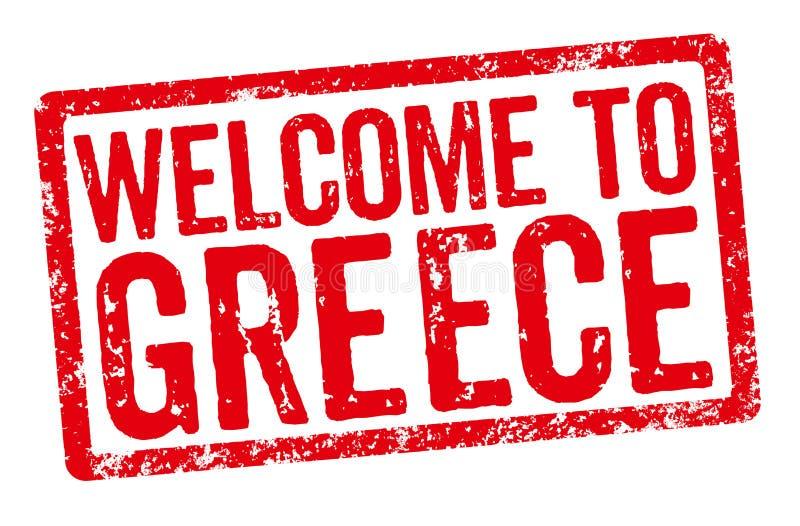 Selo vermelho em um fundo branco - boa vinda a Grécia ilustração do vetor