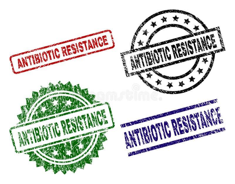 Selos ANTIBIÓTICOS Textured danificados do selo da RESISTÊNCIA ilustração royalty free