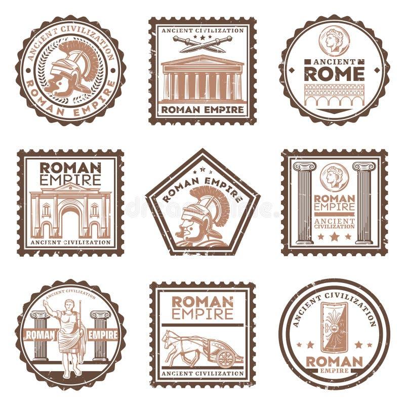 Selos antigos da civilização de Roma do vintage ajustados ilustração royalty free