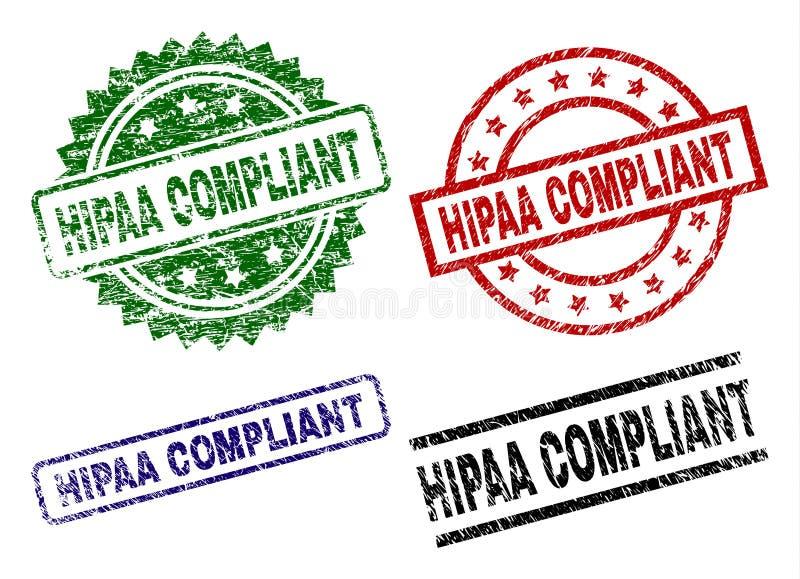 Selos COMPLACENTES Textured danificados do selo de HIPAA ilustração royalty free