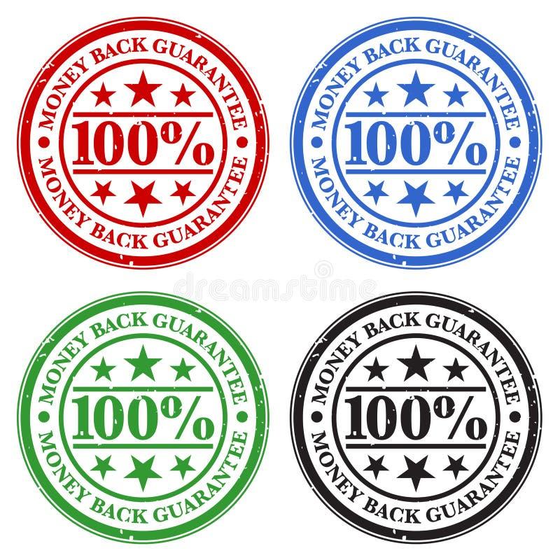 Selos da garantia da parte traseira do dinheiro ilustração do vetor