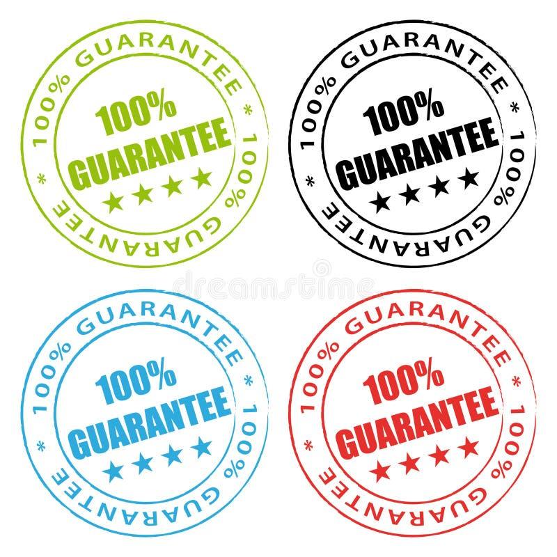 selos da garantia de 100% ilustração do vetor