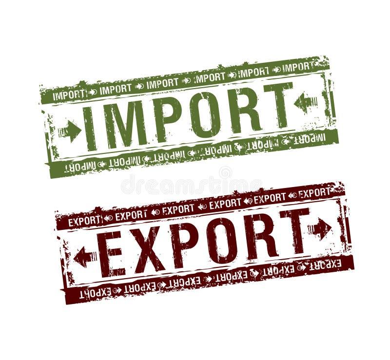 Selos da importação e da exportação ilustração do vetor