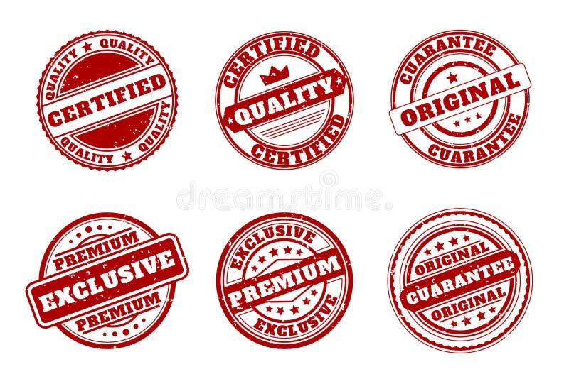 Selos da marca vermelha A qualidade e certificado, garante o original, prêmio exclusivo ilustração do vetor
