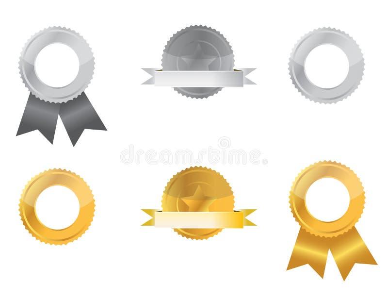 Selos da prata e do ouro ilustração stock
