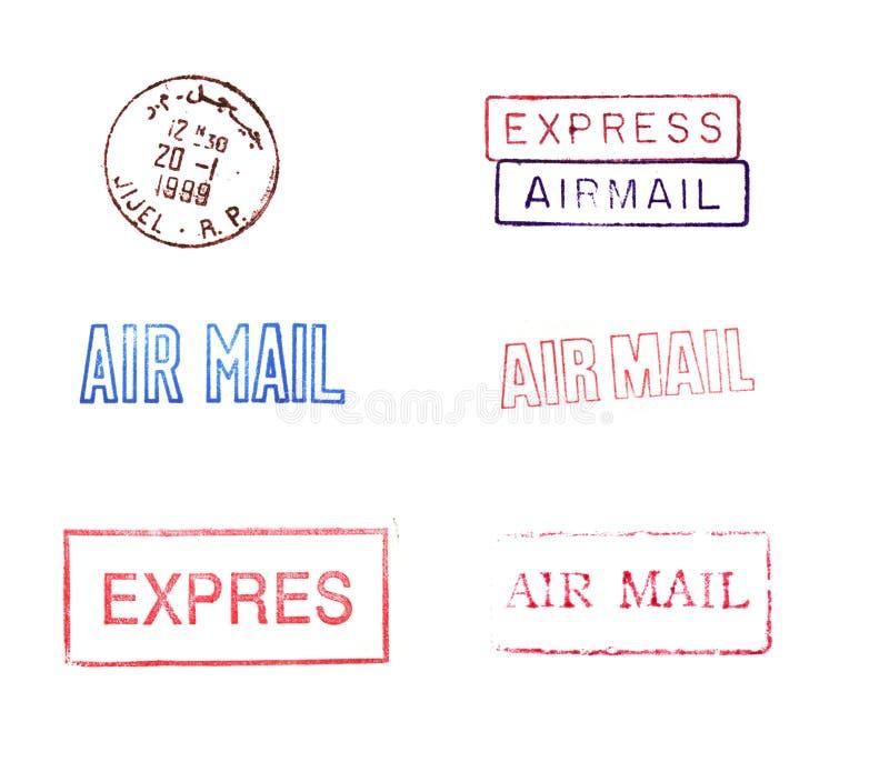 Selos de correio de borracha ilustração do vetor