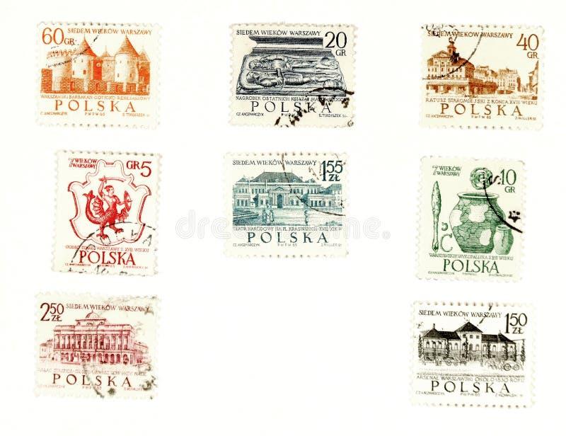 Selos de porte postal Collectible de Poland ilustração royalty free