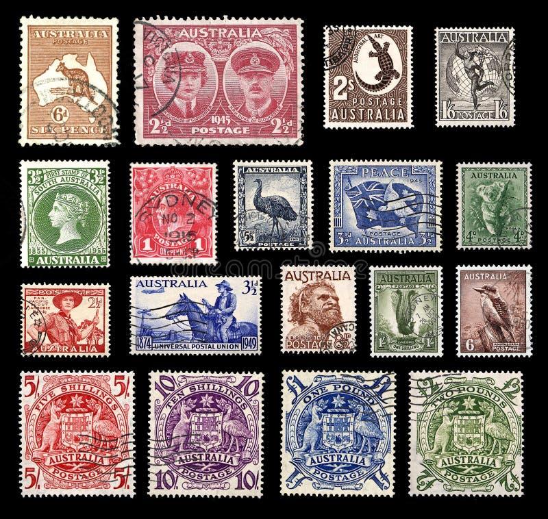 Selos de porte postal de Austrália foto de stock