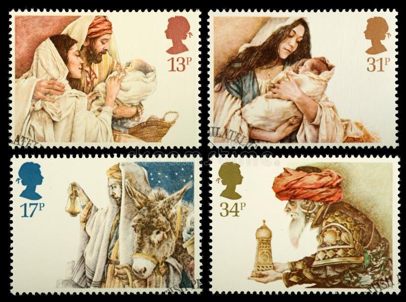 Selos de porte postal do Natal fotografia de stock
