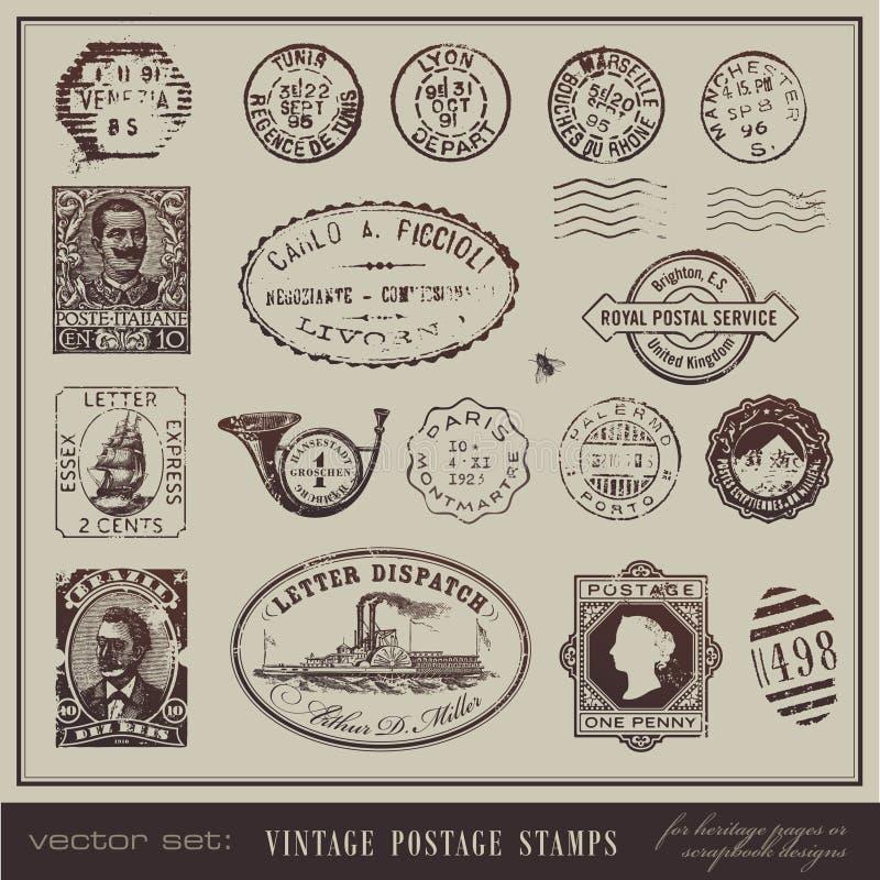 Selos de porte postal do vintage ilustração stock