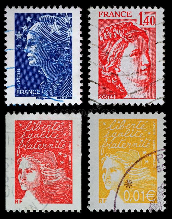 Selos de porte postal franceses imagem de stock royalty free
