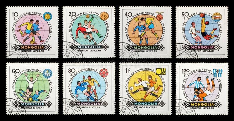 Selos de porte postal mongolia Campeonato do mundo do futebol - Espanha fotografia de stock royalty free