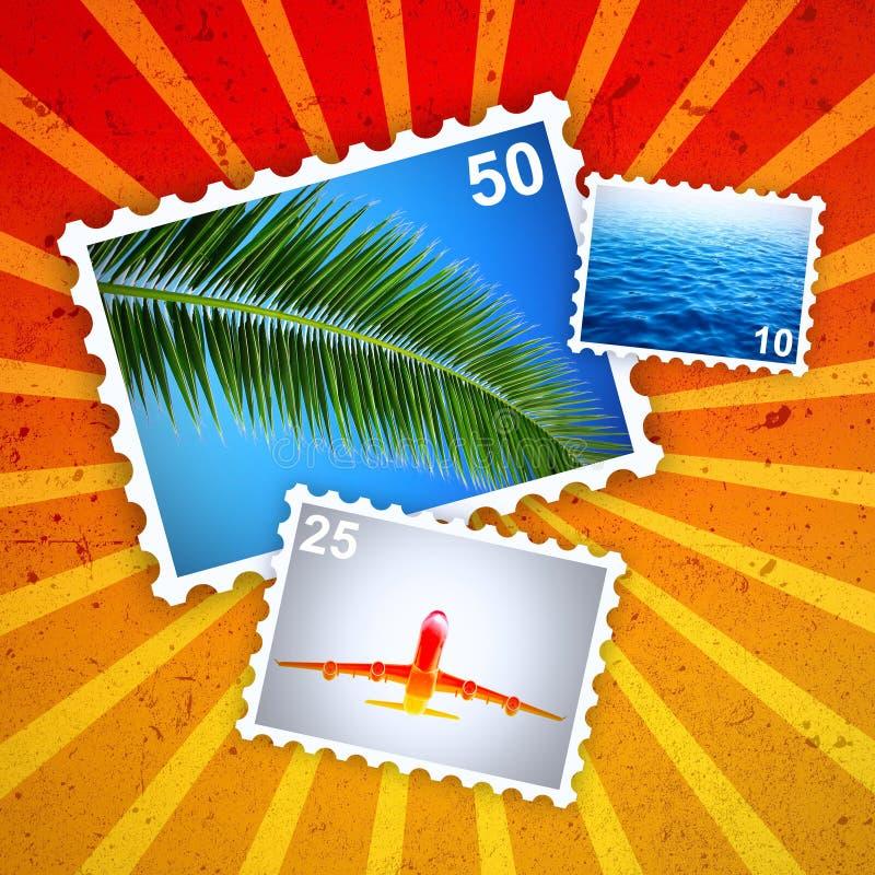 Selos de porte postal tropicais do verão ilustração do vetor