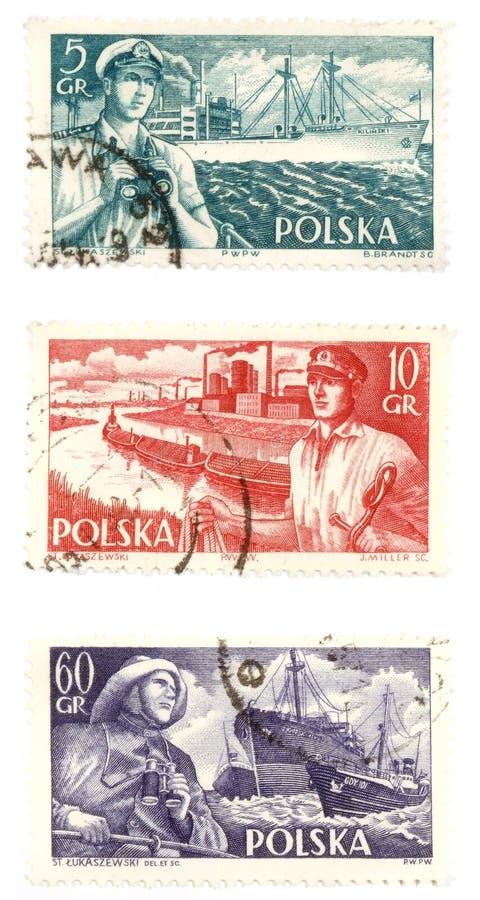 Selos de porte postal velhos de Poland imagem de stock