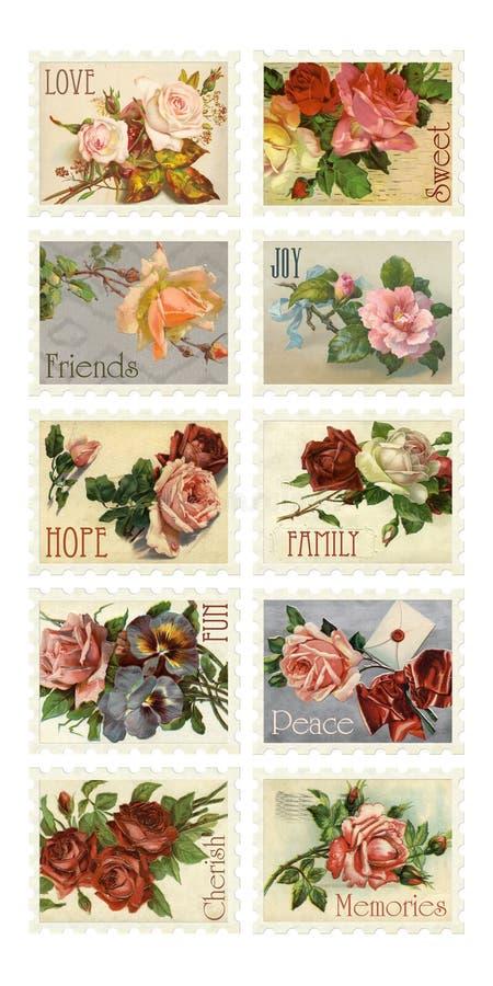 Selos de Rosa do vintage com sentimentos imagens de stock