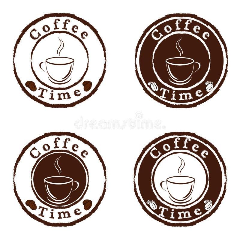 Selos de tempo do café ajustados ilustração royalty free