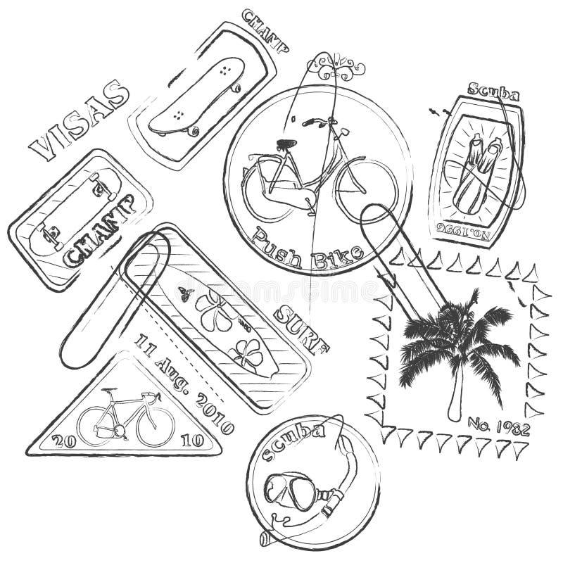 Selos de viagem ilustração stock