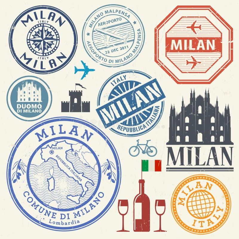 Selos de visto da viagem de negócios ou grupo de símbolos internacional Itália, ilustração royalty free
