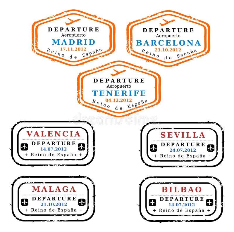 Selos de visto de Spain ilustração royalty free
