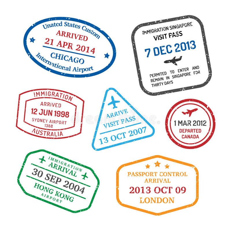Selos de visto do curso ilustração do vetor
