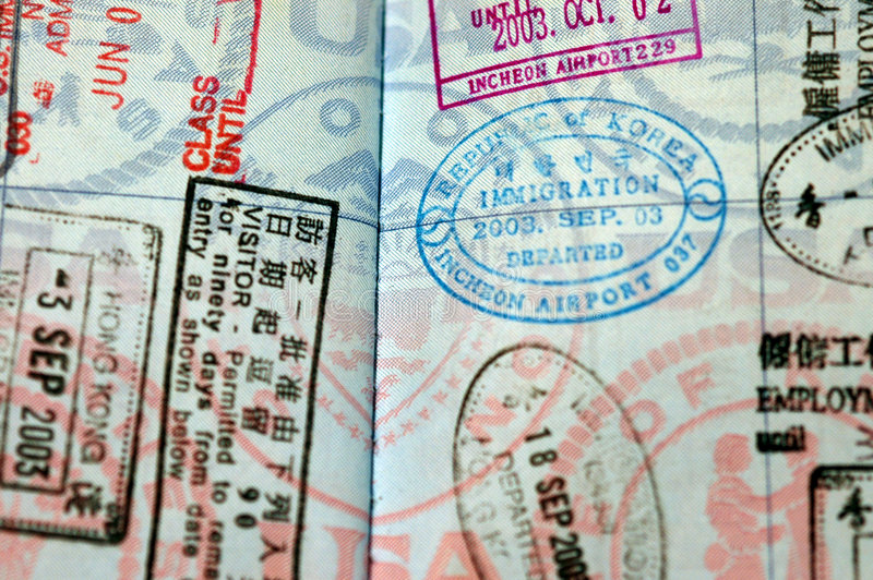 Selos de visto do passaporte fotografia de stock royalty free