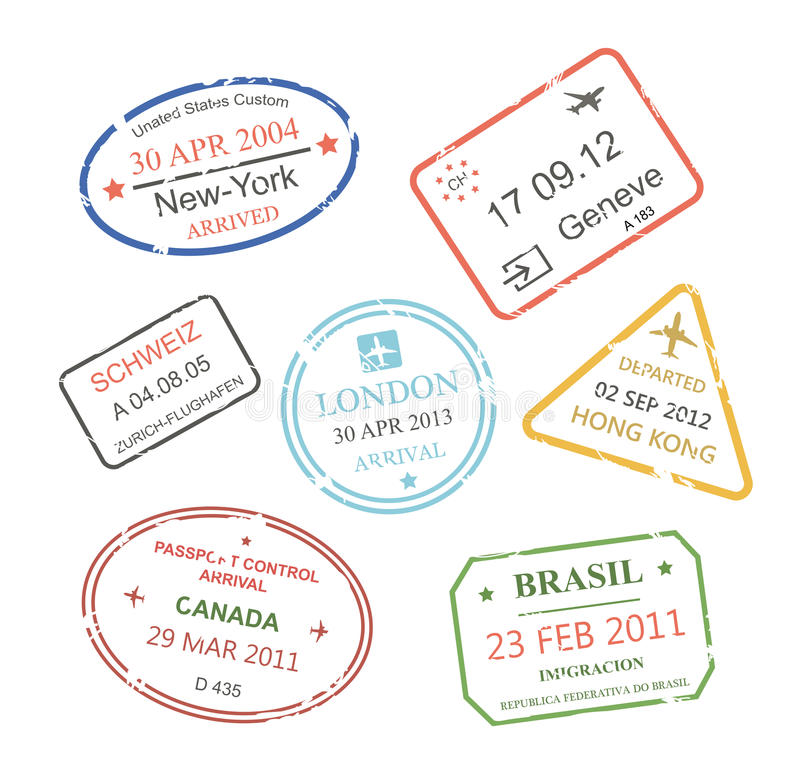Selos de visto internacionais da viagem de negócios ajustados ilustração royalty free