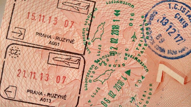 Selos de visto no passaporte imagens de stock royalty free