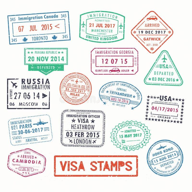 Selos de visto ou sinais do passaporte da imigração ilustração royalty free