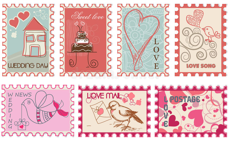 Selos do amor ilustração royalty free