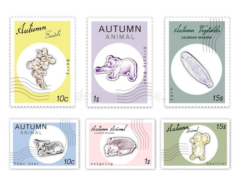 Selos do cargo ajustados de Autumn Animals e de plantas ilustração do vetor