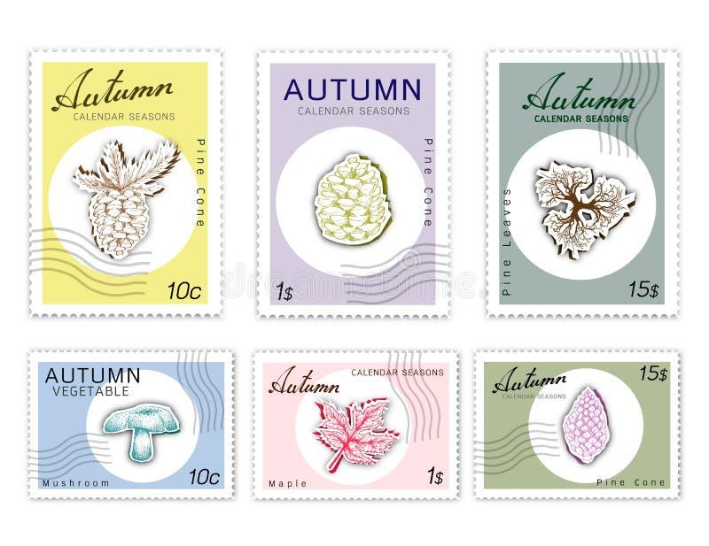 Selos do cargo ajustados de Autumn Plants com arte do corte do papel ilustração royalty free