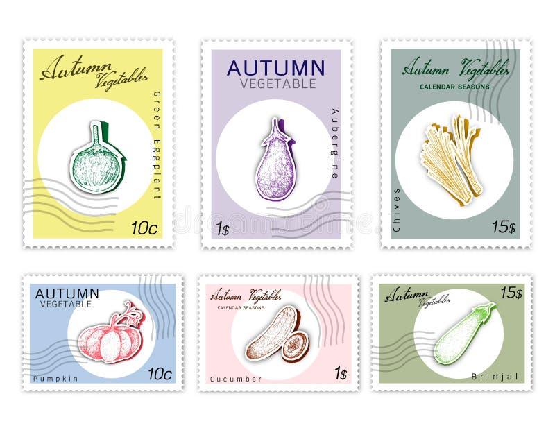 Selos do cargo ajustados de Autumn Vegetables com arte do corte do papel ilustração do vetor