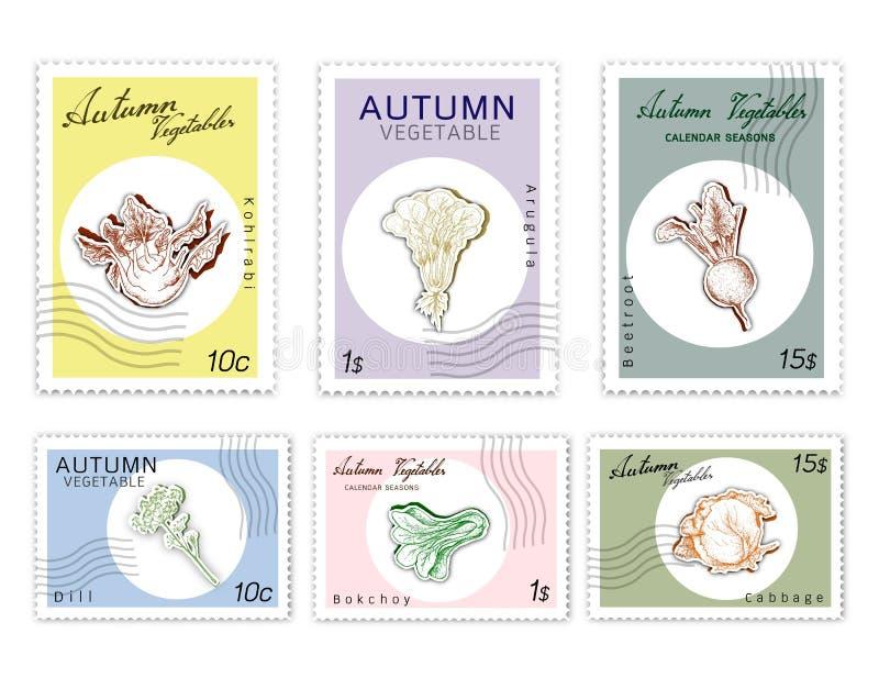 Selos do cargo ajustados de Autumn Vegetables com arte do corte do papel ilustração stock